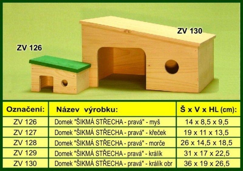 domek pro morče, šikmý bok drevo-vyrobky.cz