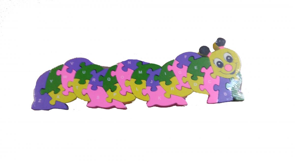 Dřevěné puzzle housenka s abecedou